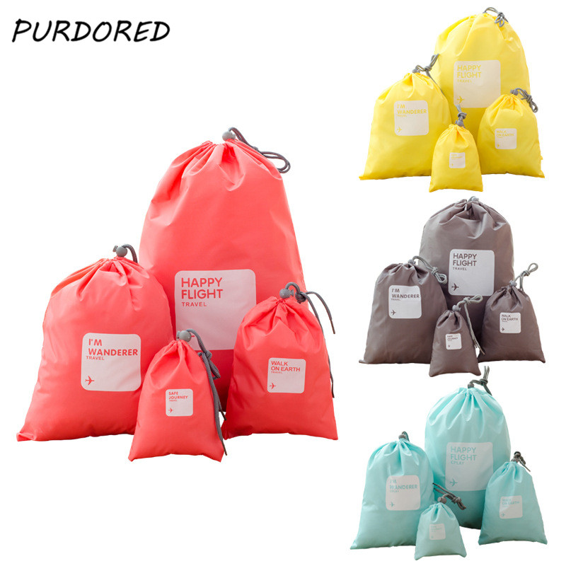 PURDORED 4 Pcs/set Travel Solid Drawstring Bag Waterproof Women Shoes Clothes Packing Storage Bag Set Travel Accessories
