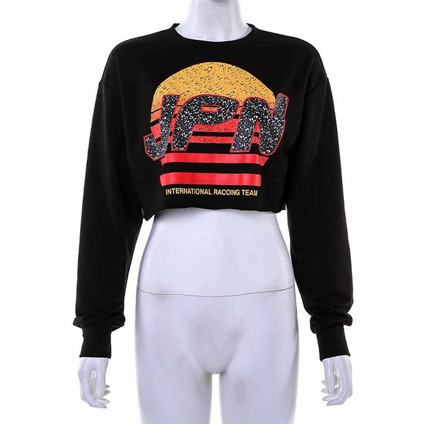 Милые свитшоты короткие худи для женщин с буквенным принтом Топ женский свободный Топ с длинным рукавом свитер Блузка корейский стиль модный топ