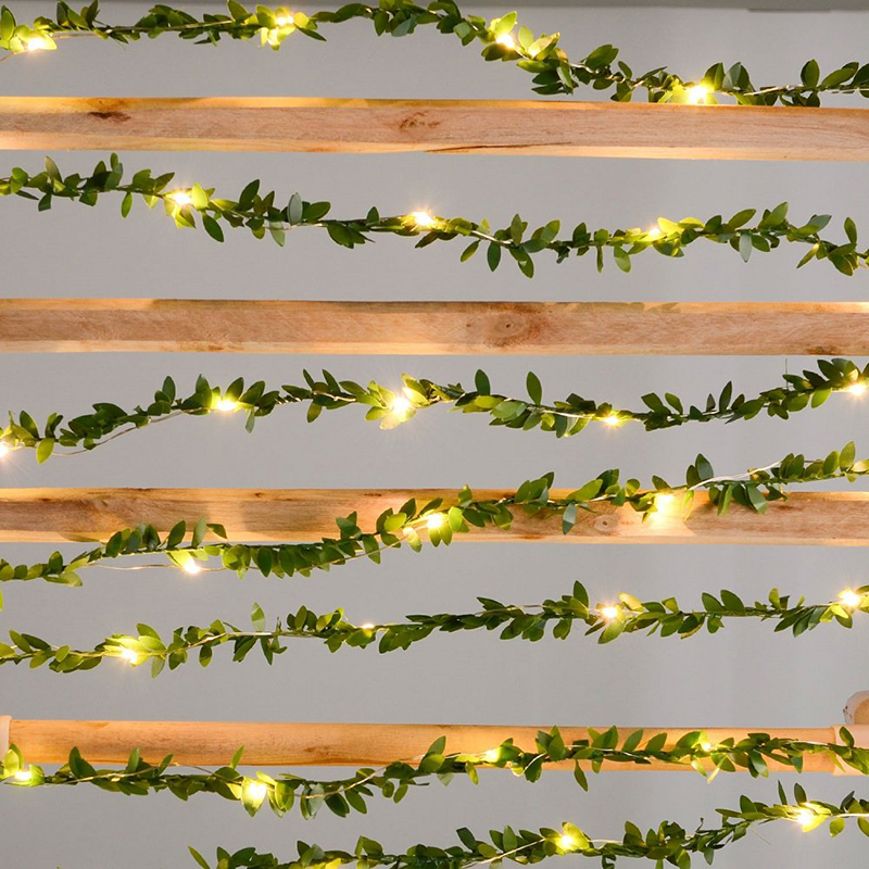 Flexible Green Leaf Garland String Lights 2M 3M 5M 10M LED Copper Wire Fairy Vine Lights For Christmas Wedding Party Decoration