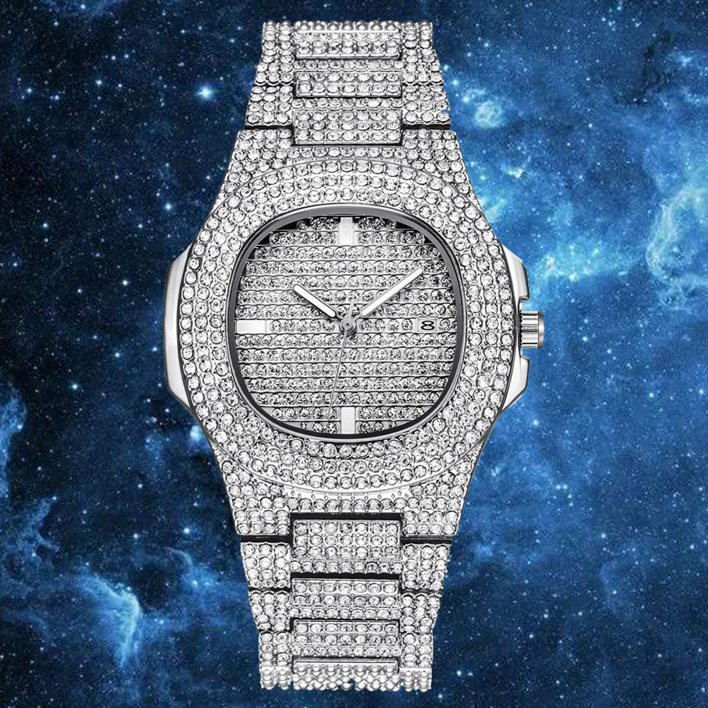 ARLANCH ICE Starry Rhinestone Out Role Hip Hop Watch Diamond Watch Men Steel Mens Quartz Watches Waterproof Relogio Masculino