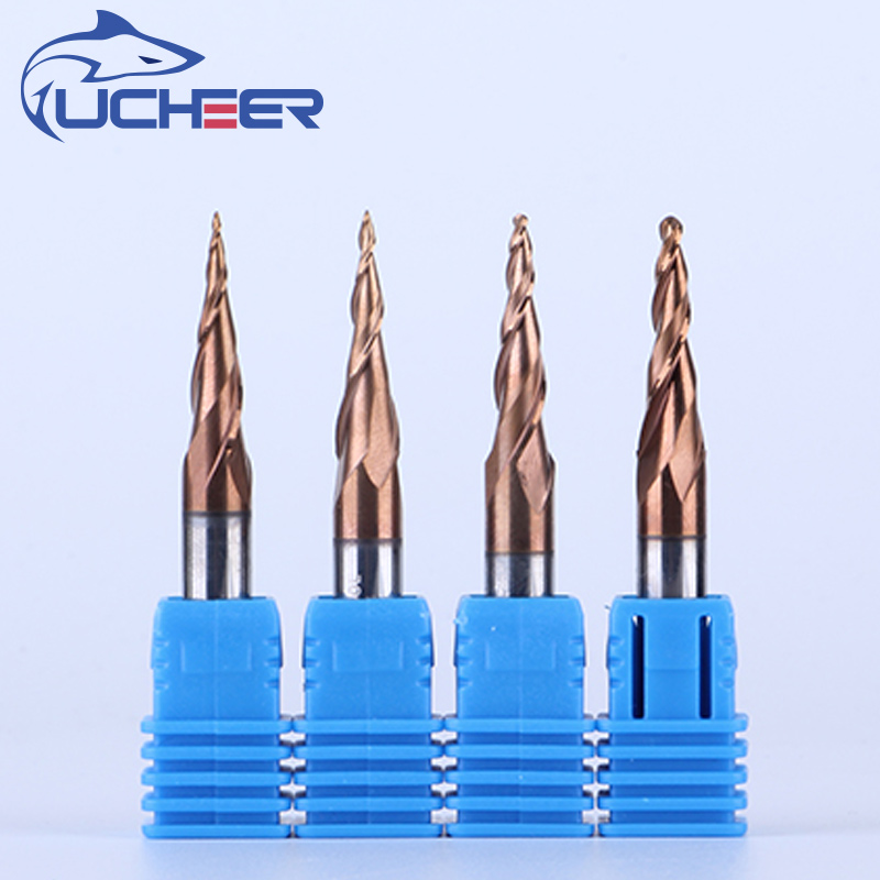 UCHEER 1pc 8mm Tapered Tungsten Solid Carbide Coated  Cone Cnc Milling Cutter Woodworking Engraving Bit Ball Nose End Mill