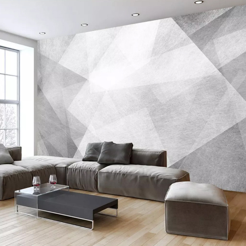 Black And White Creative Retro 3D Living Room Mural Abstract Art Sofa Wallpaper Geometry Cool TV Backdrop Wallpaper