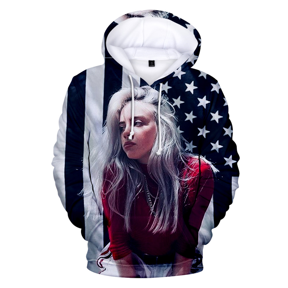 3D Print American New Independent Singer Billie Eilish Hoodies Women Men Casual Kids Autumn Billie Eilish 3D Children Sweatshirt