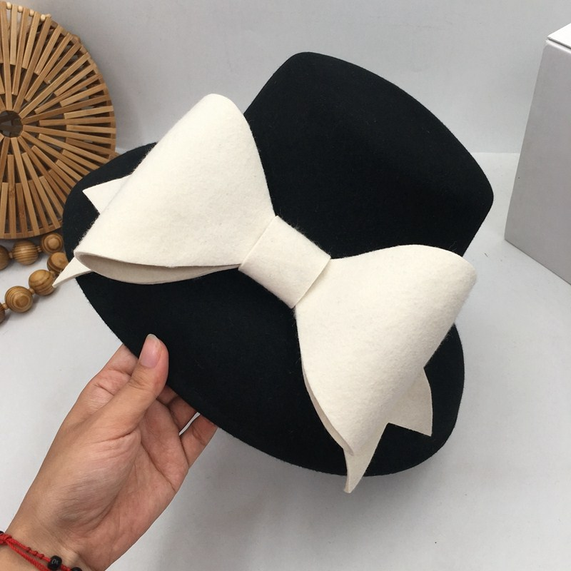 British Socialite Hepburn Wind Small Big Brim  Fashion Show Face Basin Hat Bowknot Japanese Female Qiu Dong Small Fisherman