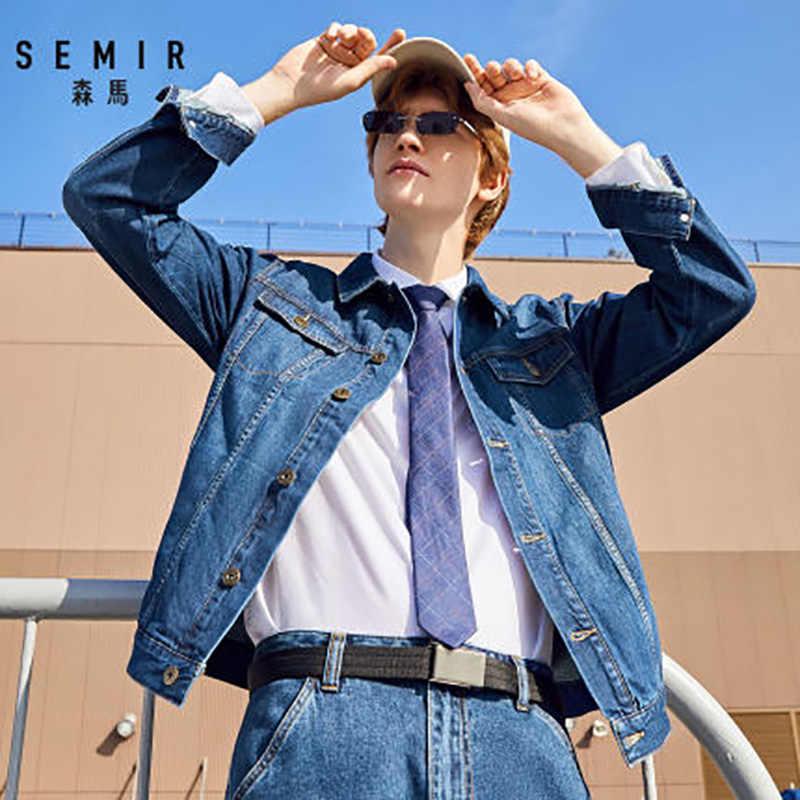SEMIR Denim Jacke Männer Gewaschen Denim Jacke Klassische mantel Kragen für Männer Casual Fashion Frühling Herbst Kleidung für outwear