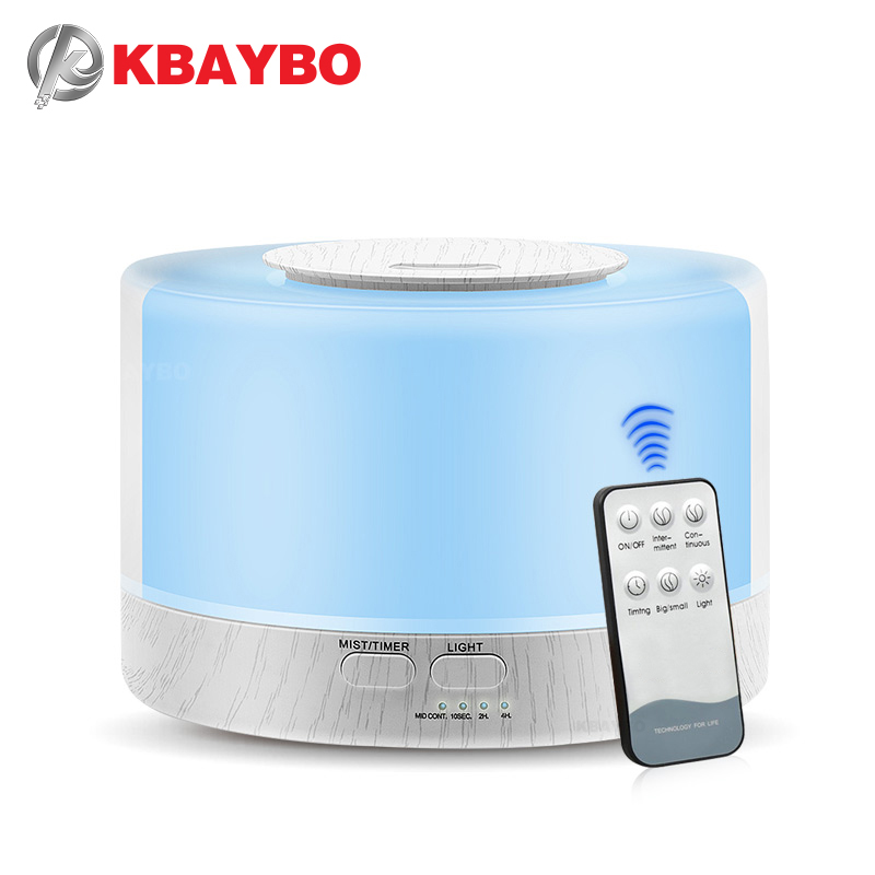 KBAYBO 700ml Remote Control Ultrasonic Air Aroma Humidifier With 7 Color Changing LED Lamp Electric Essential Oil Aroma Diffuser