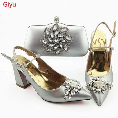 Doershow Style nigérian femme chaussures et ensemble de sacs dernières chaussures italiennes en argent et ensemble de sacs pour robe de soirée livraison gratuite SOU1-14