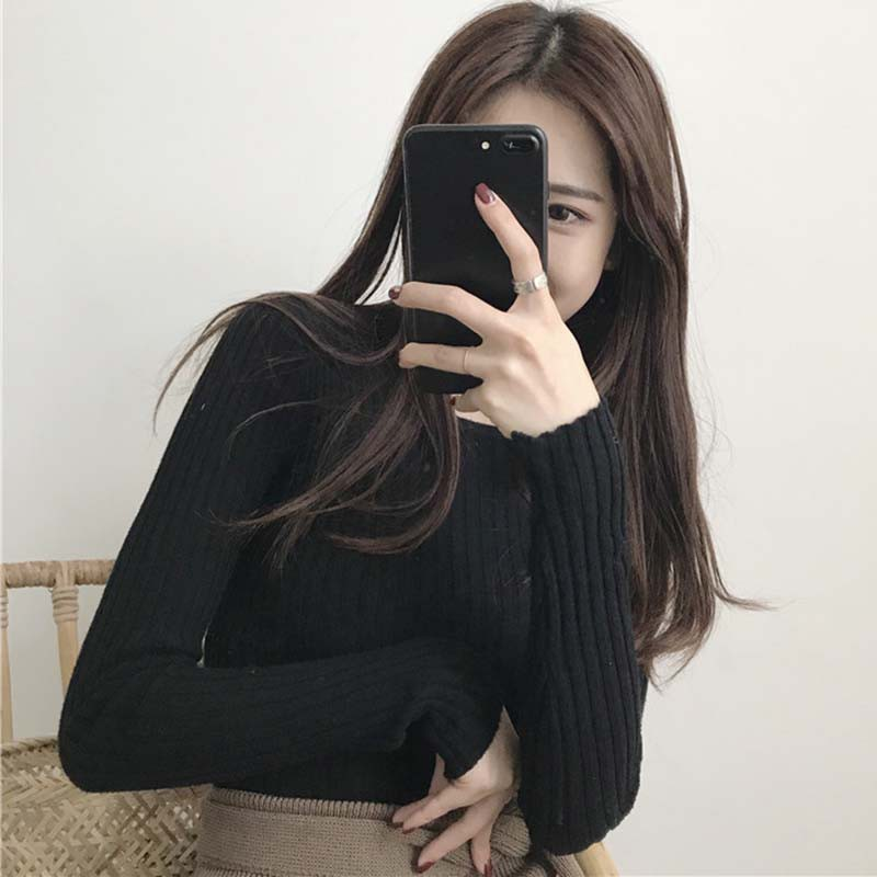 New-coming Autumn O-neck Pullovers Sweaters Primer shirt long sleeve Korean Slim-fit tight sweater