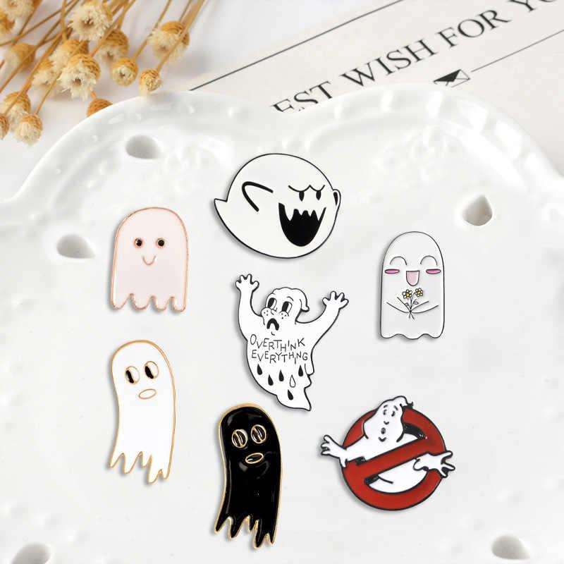 Carino Fantasma dello smalto pin Personalizzato Ghostbusters spille Del Fumetto nero bianco specter perni del Risvolto badge Camicia sacchetto dei monili del sacchetto del regalo per i bambini