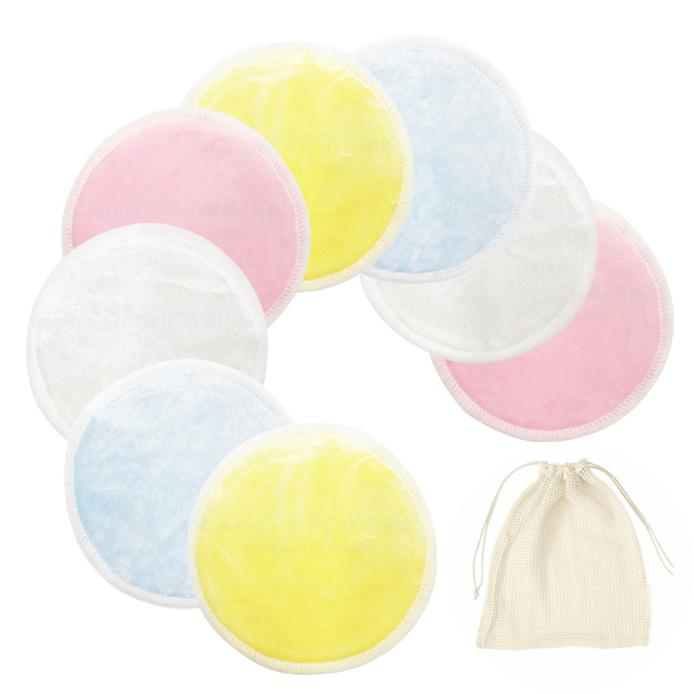 Reusable Makeup Pads Washable Cleaning Cotton Microfiber Make-up Remover Bamboo Facial Pads With Mesh Laundry Bag