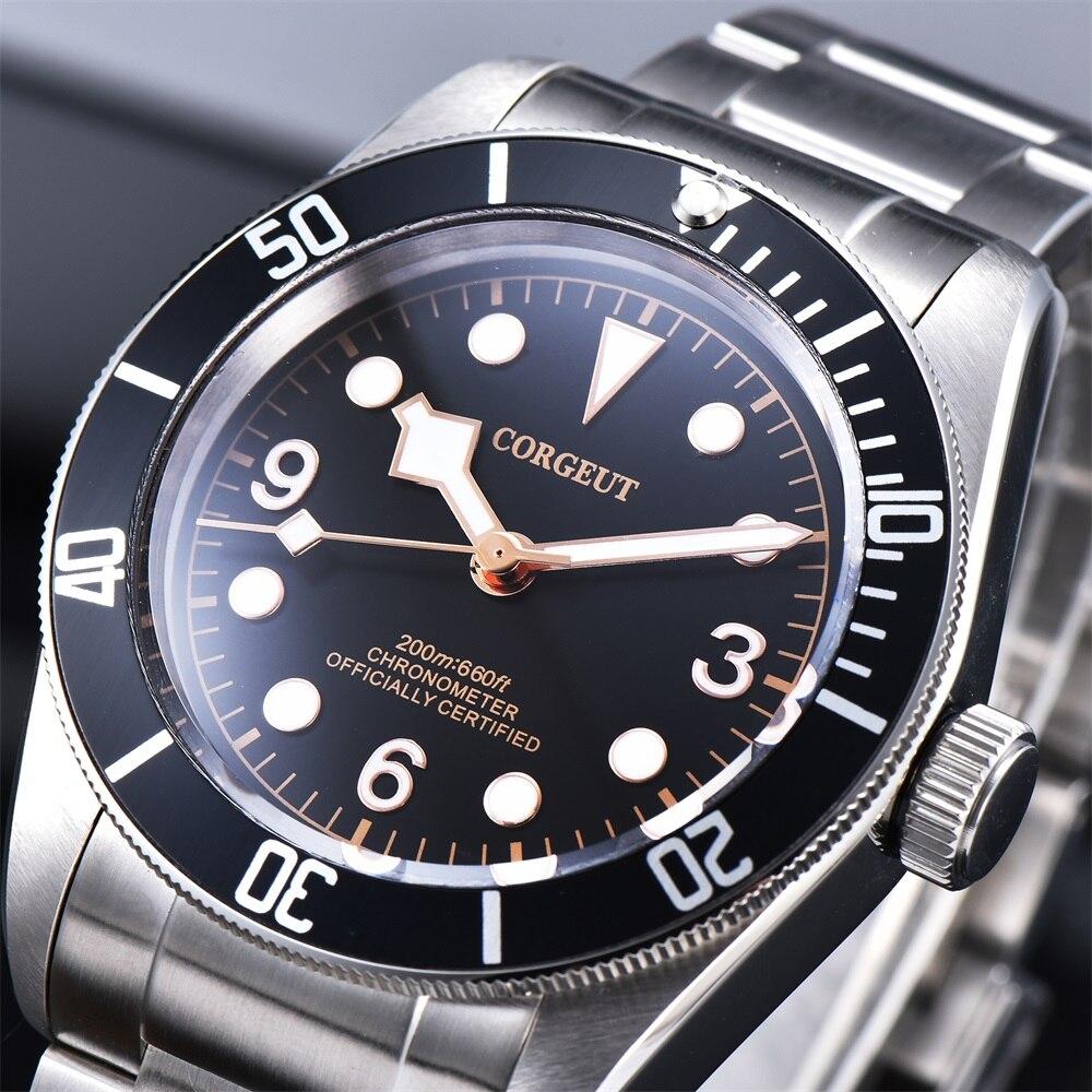 Corgeut Mechanische Uhr leucht Schwarz Bay Männer Automatische Sport Schwimmen Uhr Luxus Marke männlichen Mechanische Handgelenk Uhren 2010D