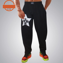 Мужские мешковатые брюки для бодибилдинга, высокая эластичность, хлопок, одежда для спортзала, штаны для фитнеса, свободные, удобные, для кроссфита, мускулаторные, спортивные штаны