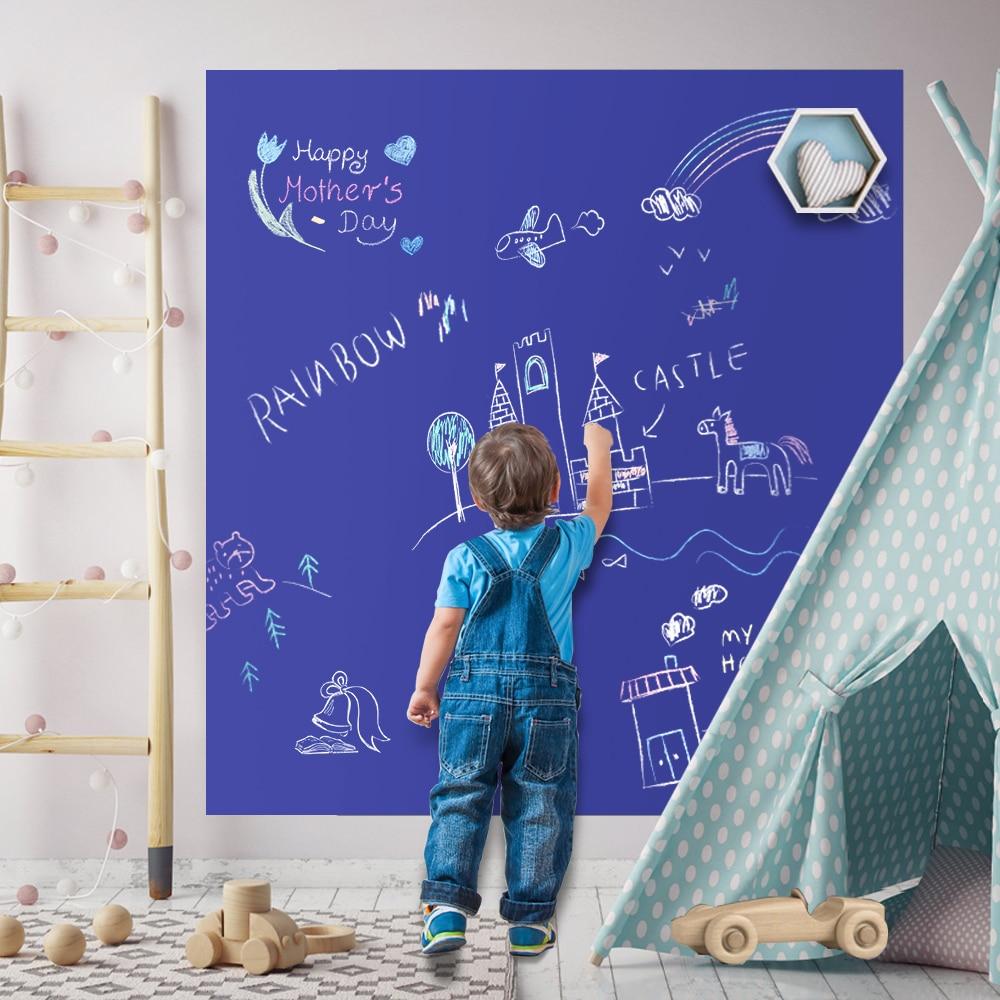 Large Chalkboard Wall Sticker With Chalk Blackboard Contact Paper Roll Black Board Wallpaper Decal Vinyl For Home Office School