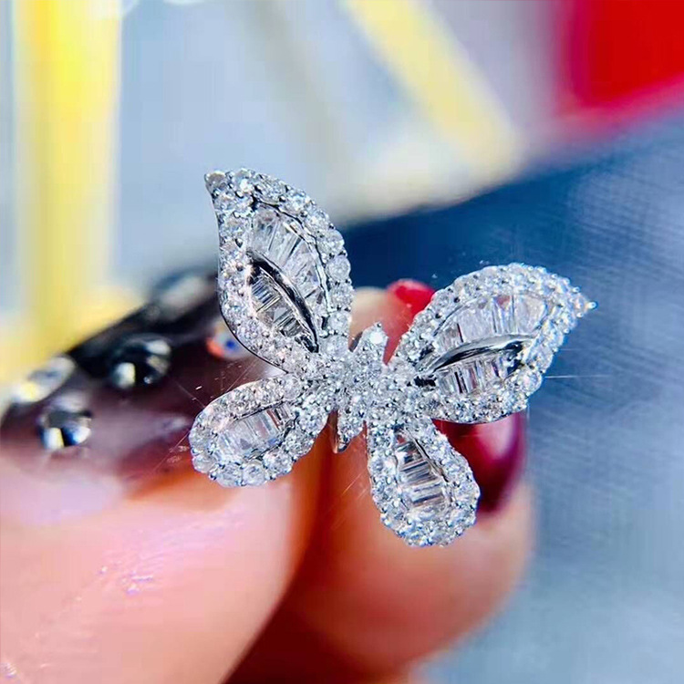 New Arrival Animal Butterfly Crystal Ring 925 Sterling Silver Dazzling AAA Full Big Zircon Twist Rings For Women Anel Love Ring