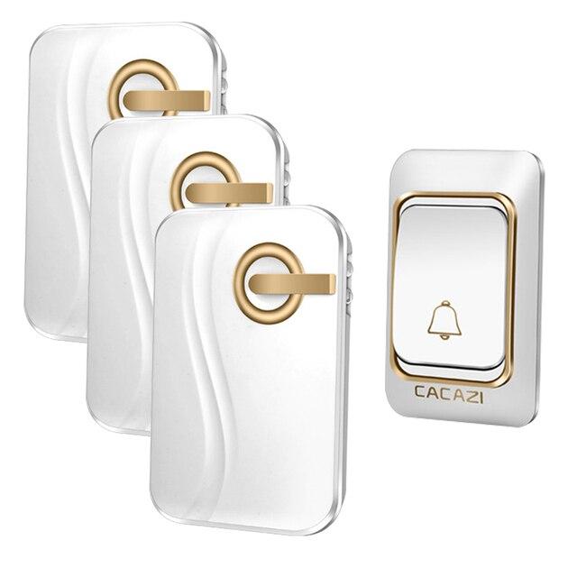 Cacazi Sonnette sans fil sans fil avec sonnette de porte murale pas besoin de piles 4 niveaux de volume et lumi/ère bleue id/éal pour brancher la sonnette 58 carillons - Noir