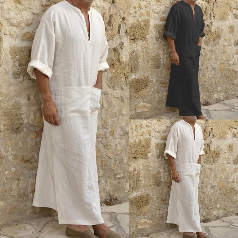 New Men Dress Clothes Vetement Femme Men Ethnic Robes Loose Solid Long Sleeve Loose Vintage Dress Kaftan Elbise Clothes