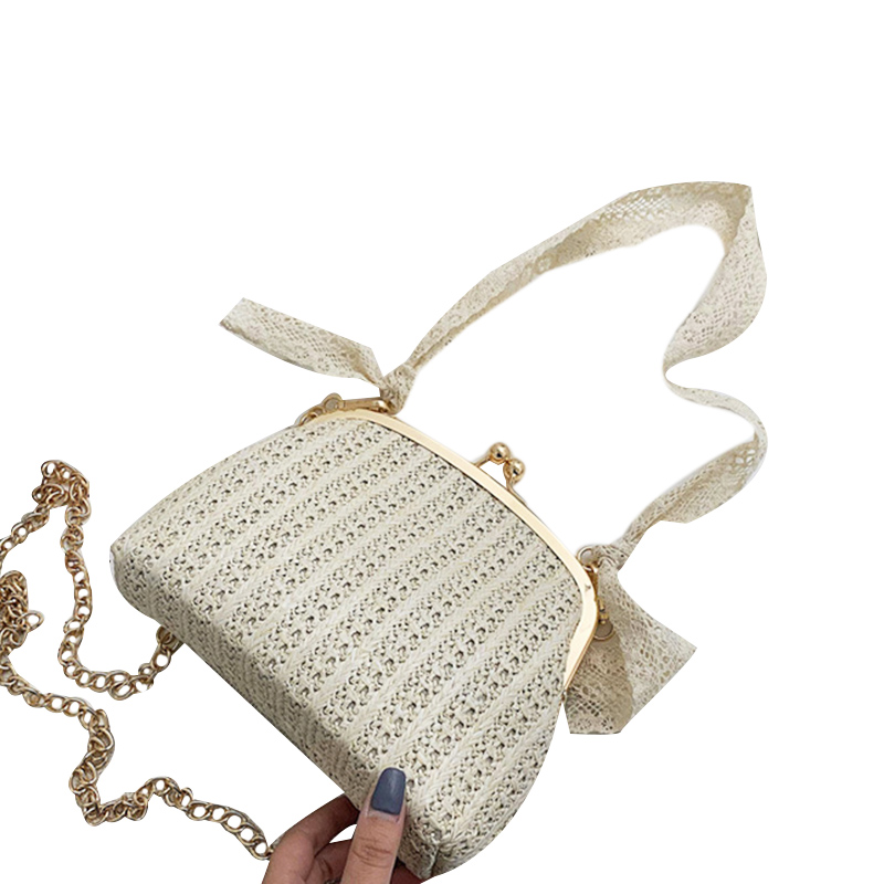 ABZC-Women Beach Bow Straw Bag Burlap Square Beach Messenger Bow Bag Sac A Main Femme Crossbody Bag Summer Rattan Basket Bag