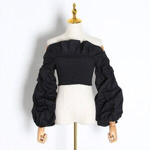 Image 5 - TWOTWINSTYLE dantelli Ruffles bluzlar bayan Slash boyun fener uzun kollu ince kısa gömlek kadın moda giyim 2020 gelgit