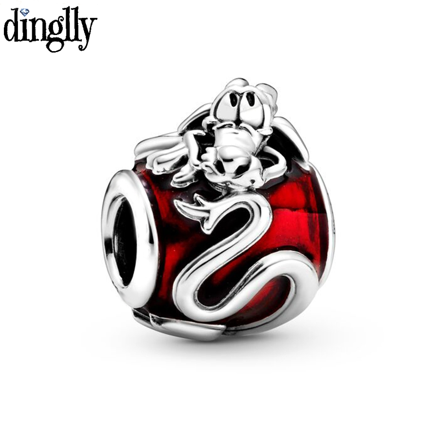 Dinglly 1pcs Red China Dragon Beaded Charm Fit Brands Bracelets Accessories Original Diy Women Men Girl Bangle Jewelry Gift(China)