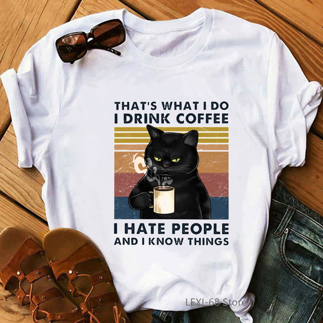 Fat black cat drink coffee thats what I do t shirt summer women clothes white vintage funny t shirts lovely graphic tops tees