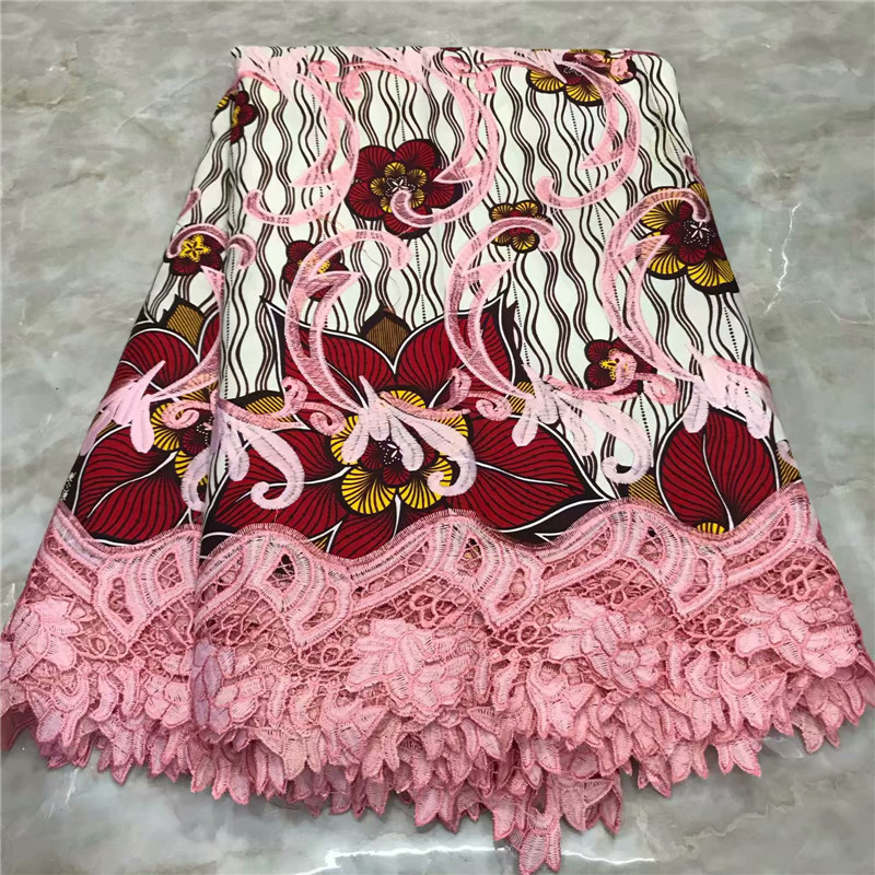 2019 High Quality Ankara Lace Wax 6 Yards Nigerian Embroidery Real Dutch Wax Pagne With Guipure Lace African Ankara Lace Wax