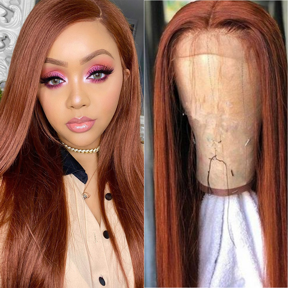Brown Auburn 33# Lace Front Human Hair Wigs For Black Women Brazilian Straight 13x4 Pre Plucked Lace Wig Remy Human Hair SOKU