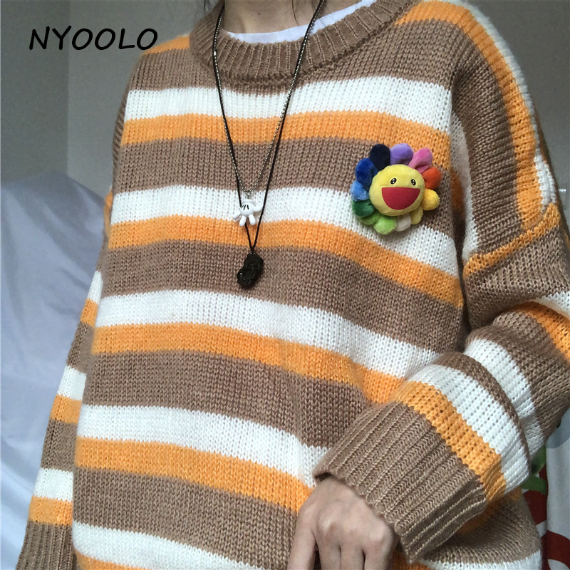 NYOOLO Autumn Streetwear Lazy Striped Patchwork Loose Hole Sweaters Casual Long Sleeve Pullovers Sweaters Women Cloth Outerwear