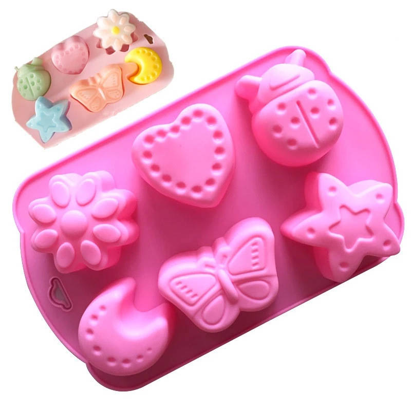 6 Even Multifunction Insect Shape Silicone DIY Soap Mould Fondant Cake Molds Cake Decoration Tool Baking Accessories