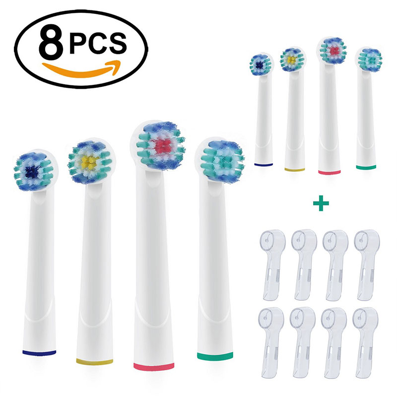 8Pcs EB20 Toothbrush Heads Served for Oral b Vatality Electric Toothbrush Heads with Caps Adult&Kids Mixed in different colors image