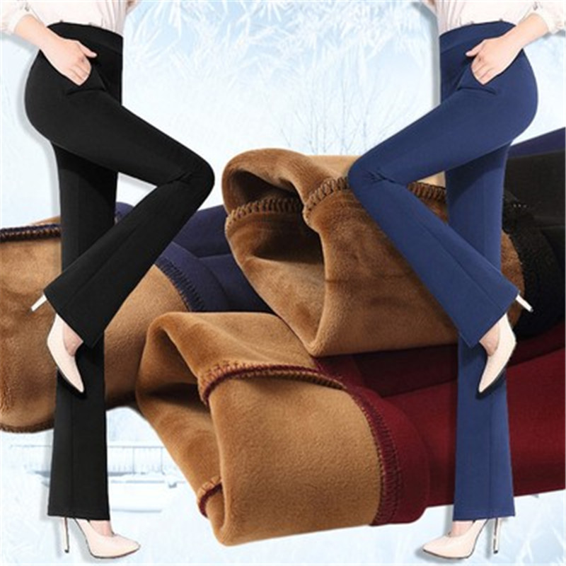 Women Fleece Flare Pants Winter Fashion High Waist Solid Trousers Casual Candy Color Warm Thicken OL Pants Streetpants P9197