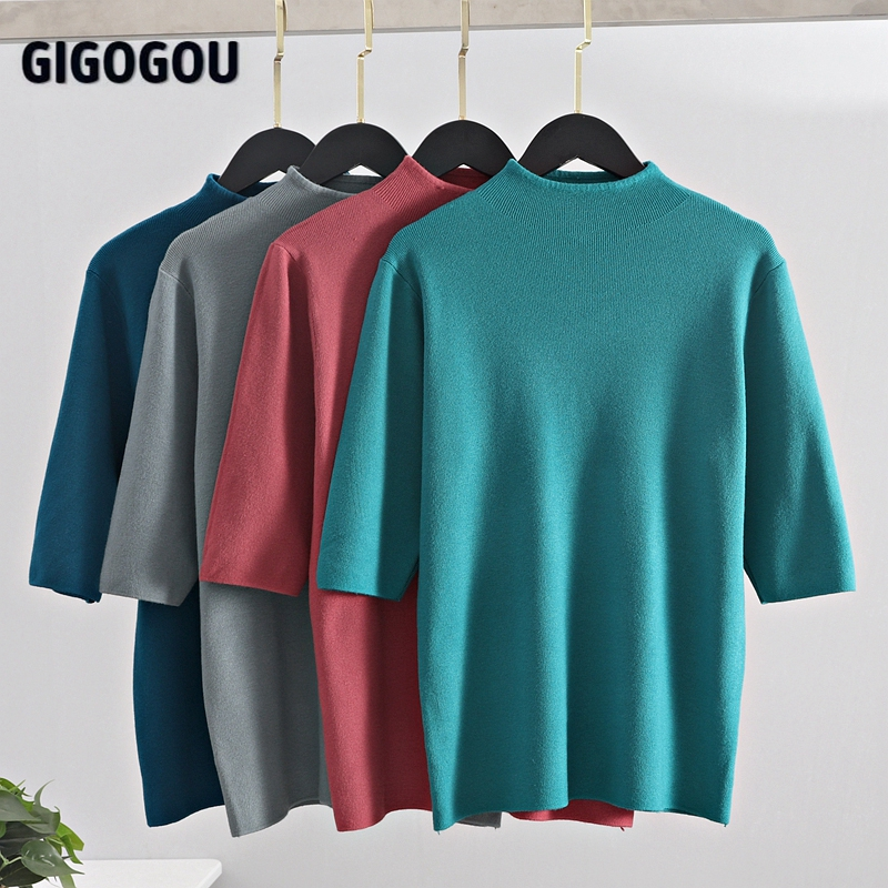 GIGOGOU Women Sweater Solid Half Sleeve Knitted Pullovers Top Fall Spring Chic Female Jumper Gray Green Jersey Shirt Pull Femme