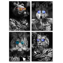 Glasses Tiger Lion Bear Wolf Wall Art Canvas Painting Nordic Posters And Prints Black White Pictures For Living Room Decor