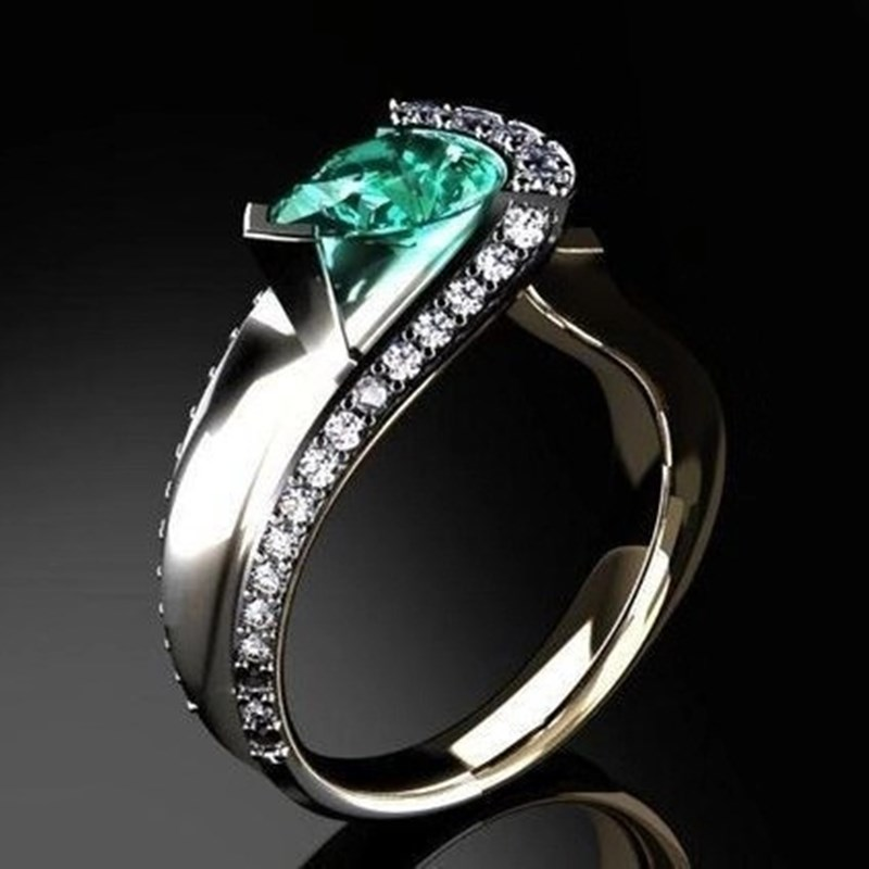 Female Luxury Curved Water Drop Zircon Ring Classic Wild Women's Jewelry Exquisite Rhinestone Wedding Engagement Fashion Ring