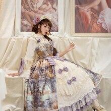 Сумерки богов~ Винтаж в стиле «лолита» с оборками и открытой передней АО платье Miss точки~ по индивидуальному заказу