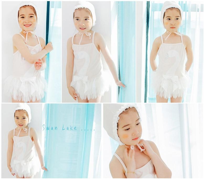 KID'S Swimwear Girls Swan Siamese Swimsuit Baby Infant Lace Swimwear Gauze GIRL'S Princess Skirt