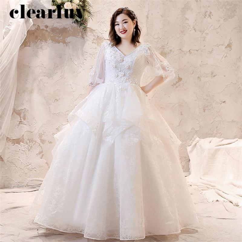White Wedding Dresses 2019 Long Plus Size Sexy V-Neck Vestido De Novia T245 Beading Flowers Bride Dress Elegant Wedding Gowns