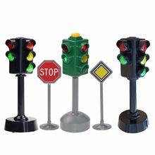 5 pçs/lote mini sinais de trânsito estrada luz bloco com som led crianças educação segurança quebra-cabeça luz tráfego brinquedos presentes