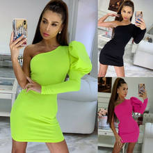 Women Bodycon One Sleeve Long Puff Sleeve Dress Slim Off Shoulder Evening Party Club Short Mini Sundress(China)