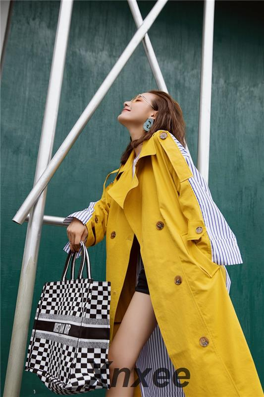 Korean Women Clothes 2019 Autumn Windbreaker Female Long Coat New Style Striped Stitching Yellow Winter   Trench   Coat Xnxee