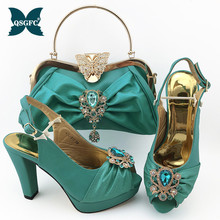 2020 S.blue Color Sexy Women Party Shoes and Bag Set with Shinning Crytal Peep Toe Sandals African Lady Matching Shoes and Bag new gold office shoe and bag set women shoes and bag set in italy design italian shoes with matching bag set wedding dress shoes
