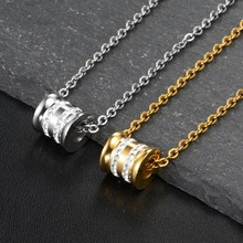 Fashion Jewelry Cylindrical Zircon Pendant Necklace Stainless Steel Material Chain Trendy Women Gift