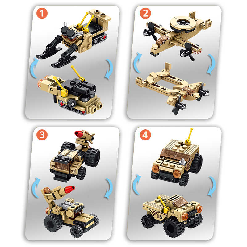 Building Block Military SUV Firefighting Truck SWAT Police Boat Truck Robot Car Helicopter Warplane Plastic Gift Toy For Kid Boy