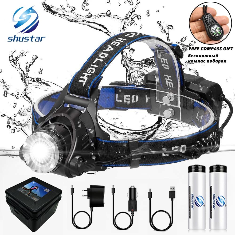 Светодиодный налобный фонарь рыболовный головной светильник T6/L2/V6 3 режима масштабируемый водонепроницаемый супер яркий походный светильн...
