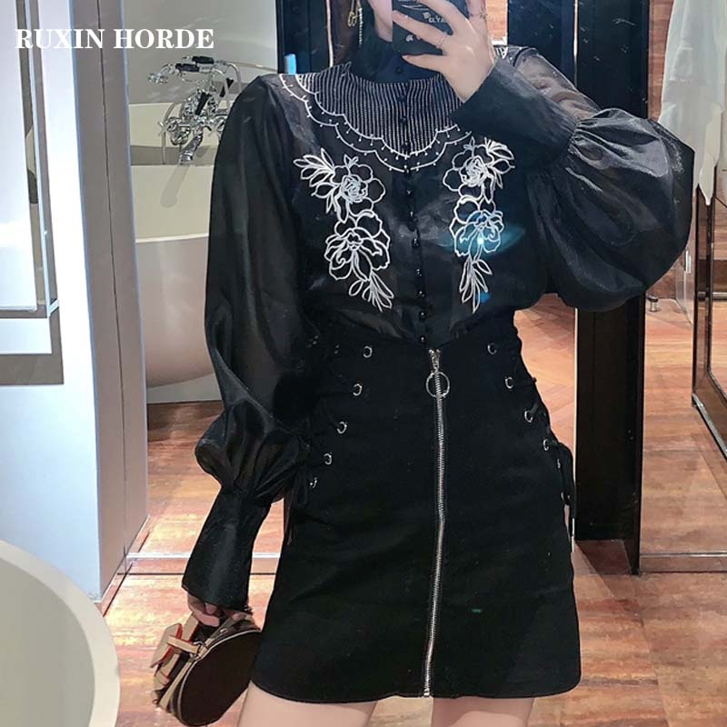 Court Elegant Embroidered Stand Collar Design French Long-Sleeve 2021 Top Spring See Through Women Shirt Mini Skirt Zipper Suits