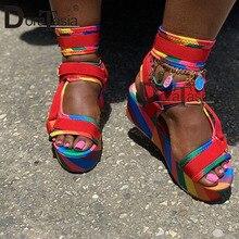 DORATASIA Wholesale Female INS Summer Platform Sandals Ankle Strap Wedges