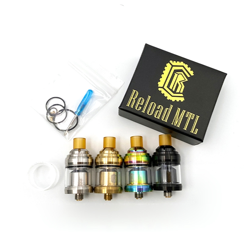 Vmiss Reload MTL RTA Tank 22mm Diameter 2ml Capacity Adjustable Atomizer With Yellow Drip Tips Mouthpiece Vape Mod