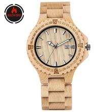 REDFIRE Pure Maple Wood Watch Auto-Date Display Minimalist R