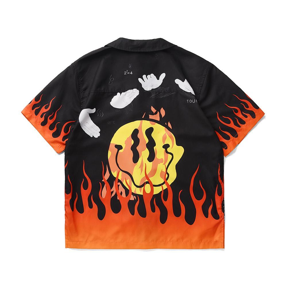 Men Hawaiian Shirt Camisa Hombre Button Print Shirt Short Sleeve Flame Print Shirts Man Summer Casual Male Top