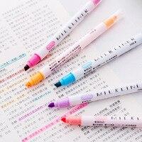Marcador de desenho de caneta fluorescente colorido 12 cores de papelaria japonês forro suave dupla cabeça highlighter caneta milkliner caneta