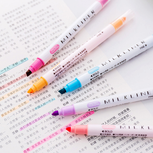 Mild Liner Double Headed Highlighter Pen Milkliner Pen Colored Fluorescent Pen Drawing Marker Pens 12 Colors Japanese Stationery